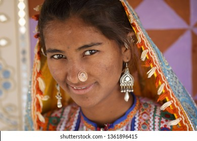 RANN OF KUTCH, INDIA - DECEMBER 3, 2018: Unidentified tribal woman in a rural village in the district of Kutch, Gujarat. The Kutch region is well known for its tribal life and traditional culture.