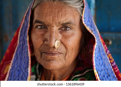 RANN OF KUTCH, INDIA - DECEMBER 4, 2018: Unidentified tribal woman in a rural village in the district of Kutch, Gujarat. The Kutch region is well known for its tribal life and traditional culture.