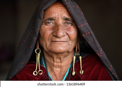 RANN OF KUTCH, INDIA - DECEMBER 6, 2018: Unidentified old Rabari woman in a rural village in the district of Kutch, Gujarat. The Kutch region is well known for its tribal life and traditional culture
