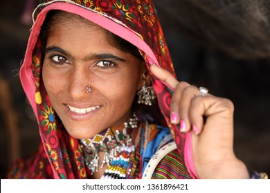 RANN OF KUTCH, INDIA - DECEMBER 6, 2018: Unidentified tribal woman in a rural village in the district of Kutch, Gujarat. The Kutch region is well known for its tribal life and traditional culture.