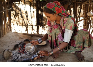 RANN OF KUTCH, INDIA - DECEMBER 7, 2018: Unidentified tribal woman in a rural village in the district of Kutch, Gujarat. The Kutch region is well known for its tribal life and traditional culture.