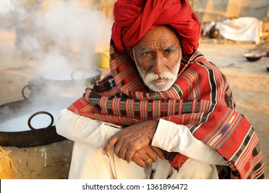 RANN OF KUTCH, INDIA - DECEMBER 8, 2018: Unidentified Rabari man in a rural village in the district of Kutch, Gujarat. The Kutch region is well known for its tribal life and traditional culture.