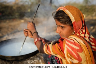 RANN OF KUTCH, INDIA - DECEMBER 8, 2018: Unidentified Rabari girl in a rural village in the district of Kutch, Gujarat. The Kutch region is well known for its tribal life and traditional culture.