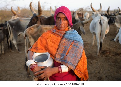 RANN OF KUTCH, INDIA - DECEMBER 8, 2018: Unidentified Rabari woman in a rural village in the district of Kutch, Gujarat. The Kutch region is well known for its tribal life and traditional culture.