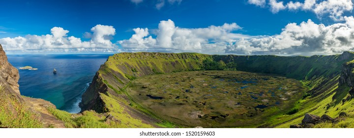 Rano kau volcanic crater gigapan panorama from the other side with Tangata matu islets, Easter Island - Shutterstock ID 1520159603