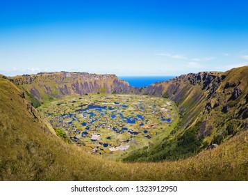 Rano Kau Volcano Crater - Easter Island, Chile