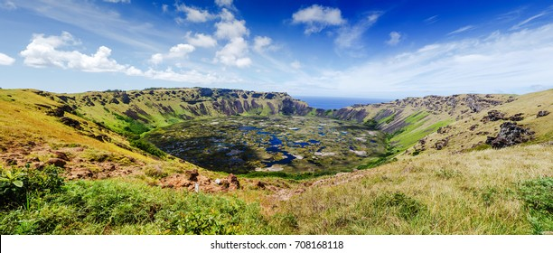 Rano Kau volcano crater, Easter island (Chile)