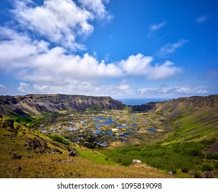 Rano Kau Volcano Crater. The crater is the refuge of the ancient island floraRapa Nui National Park,  Easter Island, Chile.  UNESCO World Heritage Site