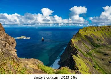 Rano Kau volcano depression and Tangata matu islets in Rapa Nui island