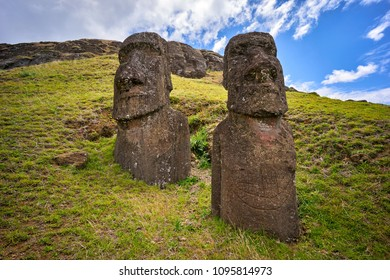 Rano Raraku volcano, the quarry of the moai with many uncompleted statues. Rapa Nui National Park,  Easter Island, Chile.  UNESCO World Heritage Site