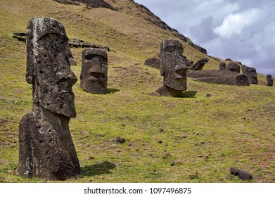Rano Raraku volcano, the quarry of the moai with many uncompleted statues.Rapa Nui National Park,  Easter Island, Chile.  UNESCO World Heritage Site