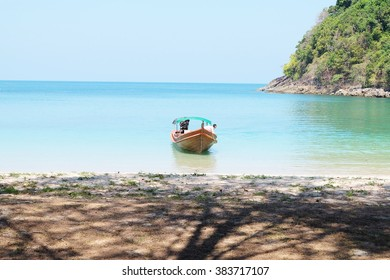 Ranong Province, Thailand - February 21,2016: Kam Island on February 21,2016 in Ranong Province, Thailand. Boat was parked waiting for tourists