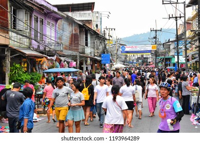 Ranong, THAILAND - 11 February 2017 : Many people walk the evening walking street in Ranong province.