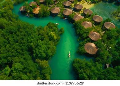 Ranong, Thailand - May 14, 2018 : Payam Island(Koh Payam) ,Topv