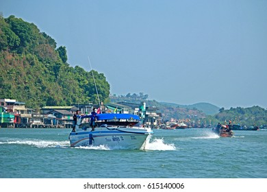 RANONG-THAILAND FEBRUARY 20 : Speed boat on the sea on February 20, 2016 Ranong Province, Thailand