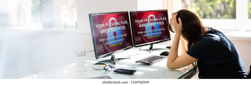Ransomware Cyber Attack. Encrypted Files Text Screen