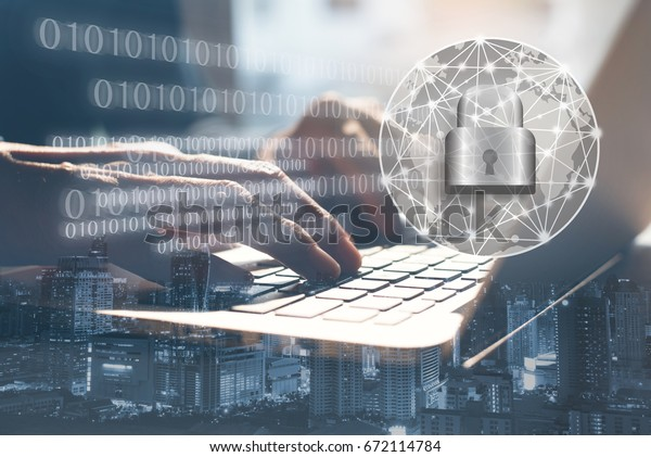 Ransomware cyber security concept, double exposure of man working on laptop computer and cityscape with technology code background of cyber security icons and internet network, malware attack