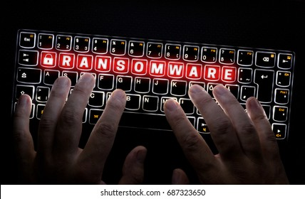 Ransomware keyboard is operated by Hacker.
