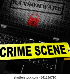 Ransomware lock on laptop with crime scene tape