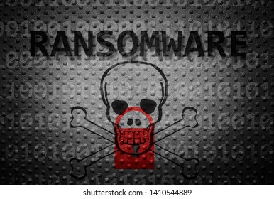 Ransomware text with lock and skull on textured backgroun
