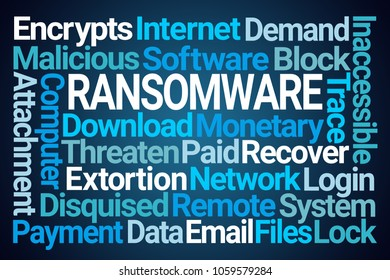Ransomware Word Cloud on Blue Background