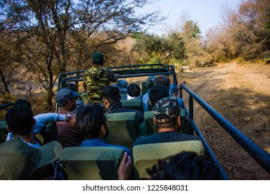 Ranthambhore, Rajasthan, India - 02 December 2017: Canter safari in Ranthambhore national park
