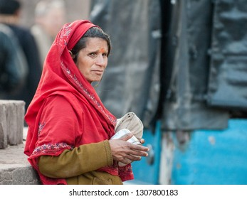 RANTHAMBORE, INDIA - FEBRUARY 3, 2011: Portrait of a Rajasthani woman in Ranthambore. Rajasthani people are known as some of the most colorful people in India.