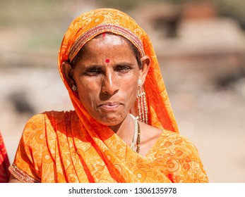 RANTHAMBORE, INDIA - FEBRUARY 4, 2011: Portrait of a Rajasthani woman in Ranthambore. Rajasthani people are known as some of the most colorful people in India.