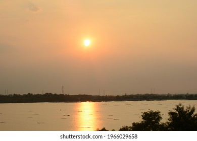Ranu lake view in the afternoon.