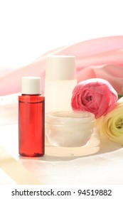 Ranunculus and cosmetic cream and moisturiser