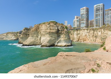 Raouche, Pigeon's rock and cave, a touristic icon rock cliff in Beirut, Lebanon.