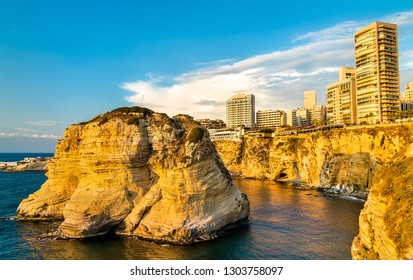 Raouche or Pigeons Rocks in Beirut, the capital of Lebanon