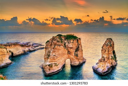 Raouche or Pigeons Rocks at sunset in Beirut. The capital of Lebanon