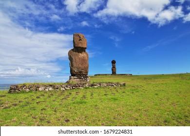 Rapa Nui. The statue Moai in Ahu Tahai on Easter Island, Chile