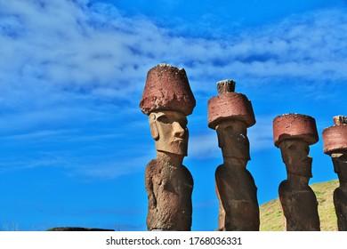 Rapa Nui. The statue Moai in Ahu Nau Nau on Easter Island, Chile