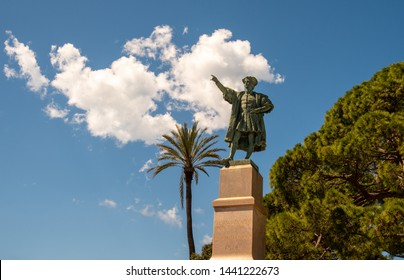 Rapallo, Genoa / Italy - April 28 2019: Monument dedicated to the Genoese explorer, navigator and colonist  Christopher Columbus (1451-1506) by the sculptor Arturo Dresco (1914) on the promenade