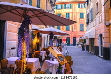 Rapallo, Italy, 27 April 2018 - A romantic italian bistro restaurant where to dine