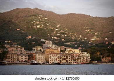 Rapallo, Italy- March 6, 2019: View of Rapallo in evening, Italy.