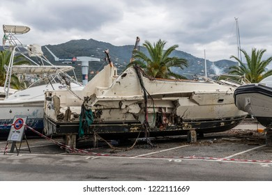 Rapallo (Italy) November/5/2018 - Disastrous outcome of a powerful storm that occurred on the night of October 29 in the harbor of Rapallo.