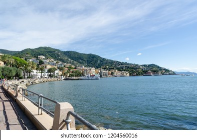 Rapallo, Italy - October 2, 2018: View at the bay by Rapallo in the Italian province Liguria