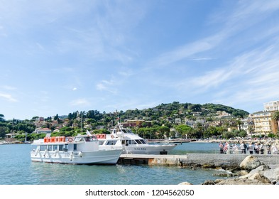 Rapallo, Italy - October 2, 2018: Beautiful harbor in the city Rapallo by the mediterranean sea in the Italian province Liguria