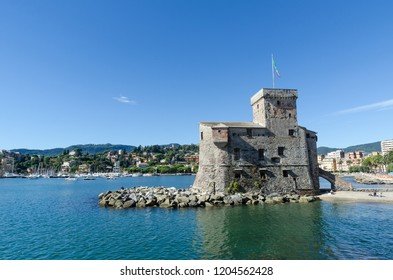 Rapallo, Italy - October 2, 2018: The medieval castle in Rapallo in the Italian province Liguria nearby Genoa