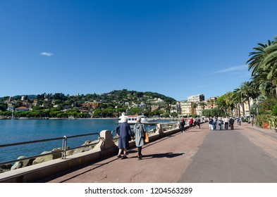 Rapallo, Italy - October 2, 2018: Rapallo promenade in the village Rapallo in the Italian province Liguria