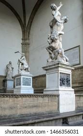The Rape of the Sabine Women statue  in the Loggia dei Lanzi (Loggia della Signoria)  in Florence, Italy