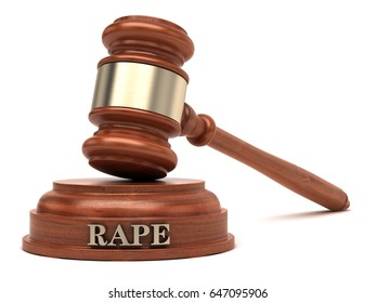 Rape text on sound block & gavel. 3d illustration.
