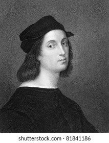 Raphael (1483-1520). Engraved by W.Holl and published in The Gallery of Portraits with Memoirs encyclopedia, United Kingdom, 1833.