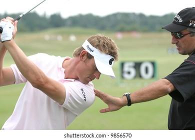 Raphael Jacquelin working with coach Alain Alberti, Open de France Alstom, Golf National, Albatros course, Paris, june 2006