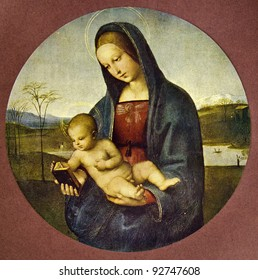 """Raphael """"Madonna Connestabile"""" (1502-1504). Reproduction from illustrated Encyclopedia «Art galleries of Europe», Partnership «M. O. Wolf», St. Petersburg - Moscow, Russia , 1901"""