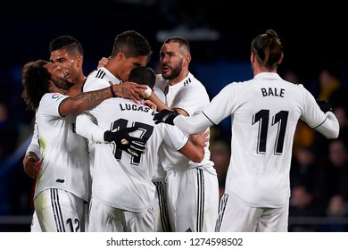 Raphael Varane of Real Madrid celebrates goal with Karim Benzema, Gareth Bale and Marcelo during the match between Villarreal CF and Real Madrid at Ceramica Stadium in Villarreal, on January 3 2019