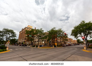 Rapid City, SD - July, 17: Downtown Rapid City, South Dakota as seen on a summer afternoon with an approaching thunderstorm. 17 July, 2016.